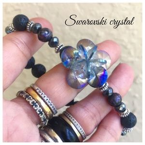Swarovski crystal flower blue pearls & lava rock